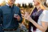 Two people enjoying wine outdoors